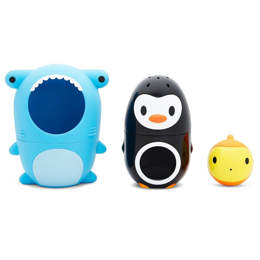 Munchkin игрушка для ванны 3 в 1 акула пингвин рыбка Sharky & Pals™ Nesting с 18 мес