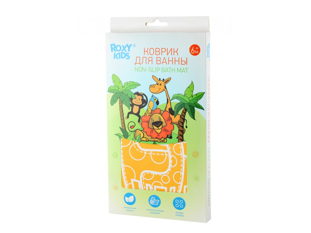 Антискользящий резиновый коврик для ванны ROXY-KIDS (желтый жираф)