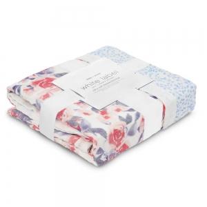 Одеяло из бамбука White label Watercolor garden-roses 120*120см