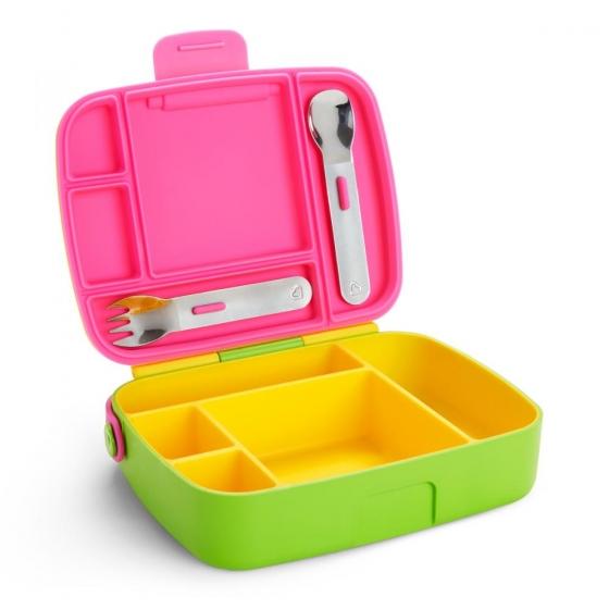 Munchkin контейнер Lunch™ с делениями для хранения питания, ложкой и вилкой 18+ желтый