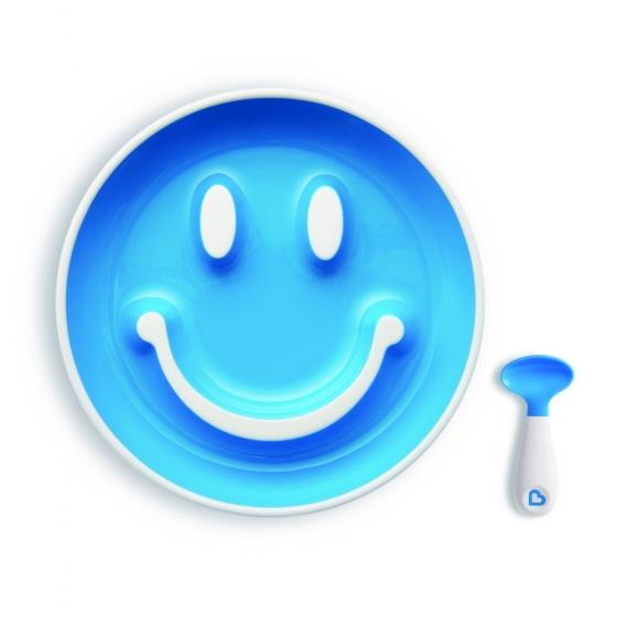 """Munchkin Набор """"Улыбка"""" Smile 'N Scoop™(тарелка на присоске и ложка) 9+ голубой"""