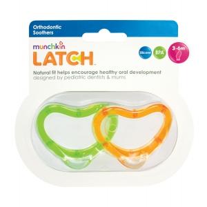 LATCH munchkin пустышка ортодонтическая силиконовая 3+ 2 шт.