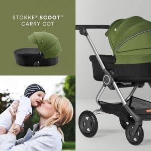 Коляска 2в1 Stokke Scoot Black Melange с зеленым капюшоном