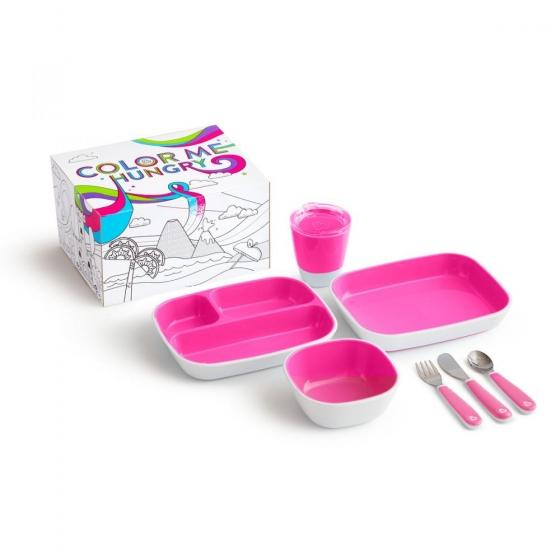 Munchkin набор посуды Splash™ 7 предметов розовый