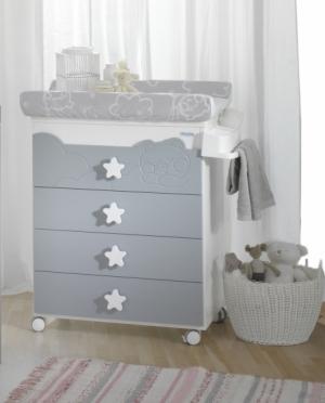 Комод пеленальный B-1673 Dolce Luce White/Grey Berliner BabyBath