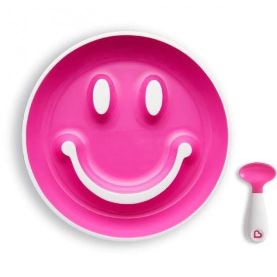 "Munchkin Набор ""Улыбка"" Smile 'N Scoop™(тарелка на присоске и ложка) 9+ розовый"