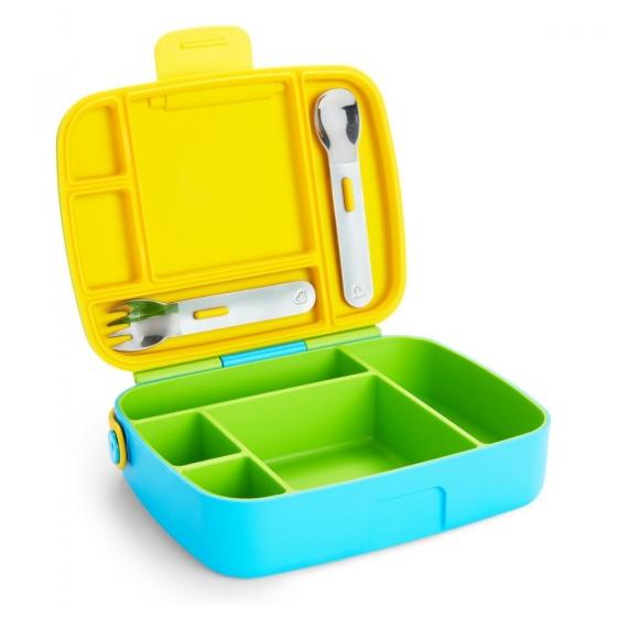 Munchkin контейнер Lunch™ с делениями для хранения питания, ложкой и вилкой 18+ зеленый