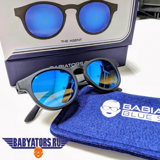 С/з очки Babiators Blue Series Polarized Keyhole. Агент (The Agent). Чёрные. Синие зеркальные линзы. (6+)