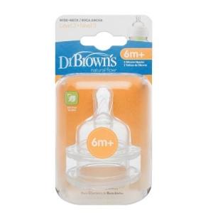 Соска для бутылочек с широким горлышком 6+, 2 шт. Dr. Brown's